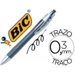 Bolígrafo Bic reaction color negro tinta gel retractil sujeción de caucho y grip ergonómico