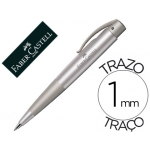 Bolígrafo Faber-Castell conic azul retractil sujeción de caucho tinta indeleble trazo medio color plata