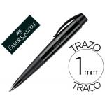 Bolígrafo Faber-Castell conic negro retractil sujeción de caucho tinta indeleble trazo medio color negro