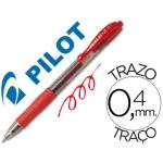 Bolígrafo Pilot color rojo tinta gel retractil sujeción de caucho