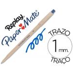 Bolígrafo Paper-Mate Replay color azul con goma de borrar