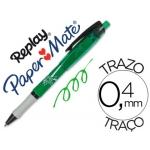 Bolígrafo Paper-Mate Replay Max color verde con goma de borrar