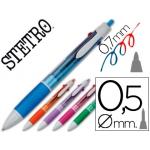 Bolígrafo Stetro 3 en 1 azul rojo 0,7 mm + portaminas 0,5 mm cuerpo colores surtidos