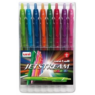 Uni-Ball JetStream SXN-157C8 - Bolígrafo de tinta líquida, punta retráctil de 0,7 mm, estuche de 8 unidades, colores surtidos
