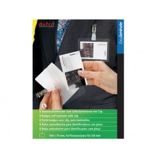Bolsa autoadhesiva Dufco para identificador con pinza pack de 8 unidades