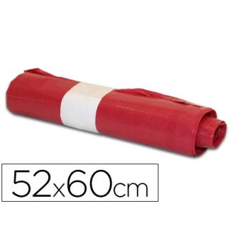 Bolsa basura doméstica color roja 52x60 cm galga 70 rollo de 20 unidades