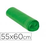 Bolsa basura doméstica color verde con autocierre 55 x 60 cm rollo de 15 bolsas