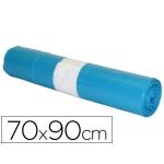 Bolsa basura industrial color azul 70x90 cm galga 110 rollo de 10 unidades