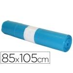 Bolsa basura industrial color azul 85x105 cm galga 110 rollo de 10 unidades