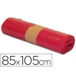 Csp - Bolsa de basura, medida 850 x 1050 mm, 100 litros, galga de 110, rollo de 10 bolsas, color rojo
