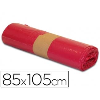 Bolsa basura industrial color roja 85x105 cm galga 110 rollo de 10 unidades