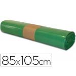 Bolsa basura industrial color verde 85x105 cm galga 110 rollo de 10 unidades