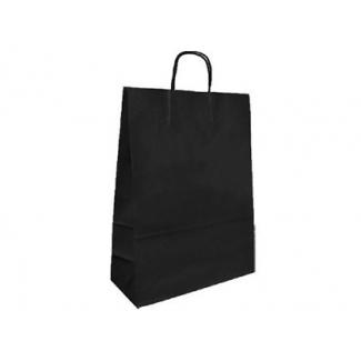 Bolsa papel kraft Q-Connect color negro asa retorcida 420x190x480 mm
