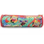 Bolso escolar portalápices tela redondo en forma de tubo estampado