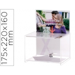 Buzon de sugerencias archivo con llave de poliestireno transparente 175x220x160 mm