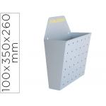 Buzon metálico para publicidad pintado en epoxi 100 ancho 26 cm alto 35 cm fondo sup 13 cm infer 6 cm color plata