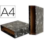 Liderpapel CZ04 - Caja para archivador, tamaño A4, lomo ancho, color negro jaspeado