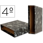 Liderpapel CZ06 - Caja para archivador, tamaño cuarto apaisado, lomo ancho, color negro jaspeado