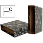 Liderpapel CZ02 - Caja para archivador, tamaño folio, lomo ancho, color negro jaspeado