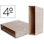 Liderpapel CZ05 - Caja para archivador, tamaño cuarto apaisado, lomo ancho, color gris jaspeado