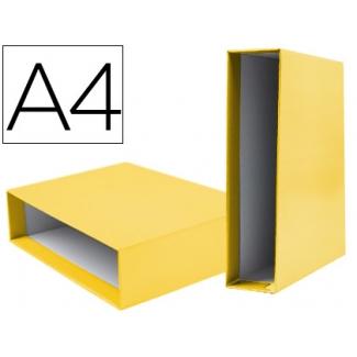 Caja archivador Liderpapel de palanca cartón tamaño A4 documenta lomo 75 mm color amarillo