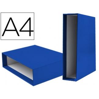 Caja archivador Liderpapel de palanca cartón tamaño A4 documenta lomo 75 mm color azul