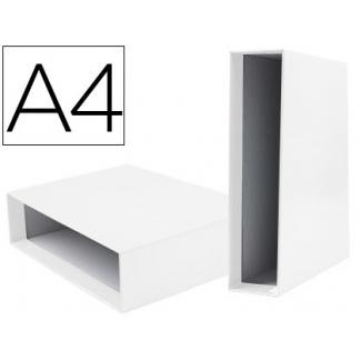 Caja archivador Liderpapel de palanca cartón tamaño A4 documenta lomo 75 mm color blanco