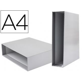 Caja archivador Liderpapel de palanca cartón tamaño A4 documenta lomo 75 mm color gris