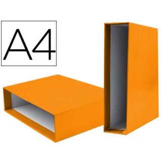 Caja archivador Liderpapel de palanca cartón tamaño A4 documenta lomo 75 mm color naranja