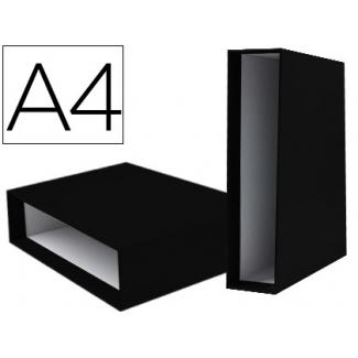 Caja archivador Liderpapel de palanca cartón tamaño A4 documenta lomo 75 mm color negro