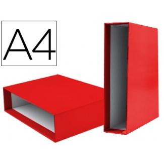 Caja archivador Liderpapel de palanca cartón tamaño A4 documenta lomo 75 mm color rojo