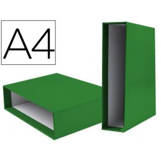 Caja archivador Liderpapel de palanca cartón tamaño A4 documenta lomo 75 mm color verde