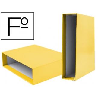 Caja archivador Liderpapel de palanca cartón tamaño folio documenta color amarillo