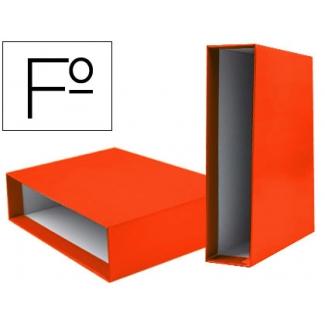 Caja archivador Liderpapel de palanca cartón tamaño folio documenta lomo 75 mm color naranja