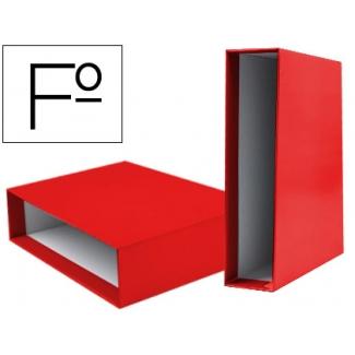 Caja archivador Liderpapel de palanca cartón tamaño folio documenta lomo 75 mm color rojo