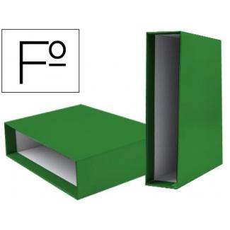 Caja archivador Liderpapel de palanca cartón tamaño folio documenta lomo 82 mm color verde