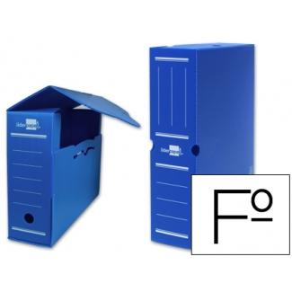 Caja archivo definitivo plástico Liderpapel color azul tamaño folio