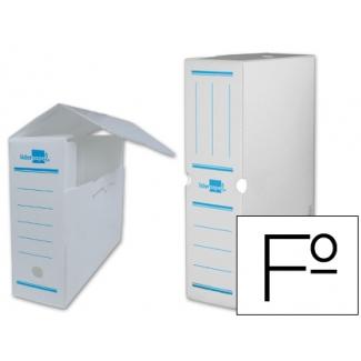 Liderpapel DF06 - Caja archivo definitivo de plástico, tamaño folio, color blanco