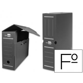 Liderpapel DF07 - Caja archivo definitivo de plástico, tamaño folio, color gris