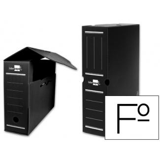 Caja archivo definitivo plástico Liderpapel color negro tamaño folio