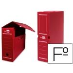 Caja archivo definitivo plástico Liderpapel color rojo tamaño folio