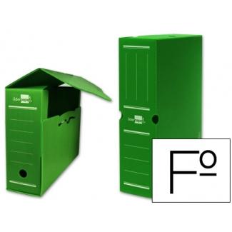 Caja archivo definitivo plástico Liderpapel color verde tamaño folio
