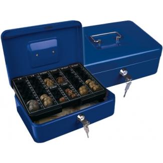 Caja caudales Q-connect 250x180x90 mm color azul con portamonedas