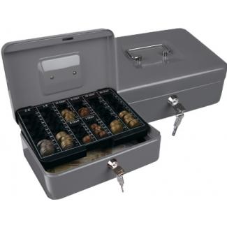 Caja caudales Q-connect 250x180x90 mm color plata con portamonedas