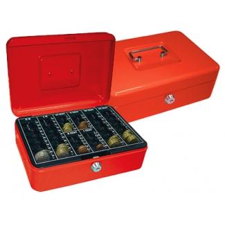 Q-Connect KF03322 - Caja de caudales, 250 x 90 x 180 mm, color rojo