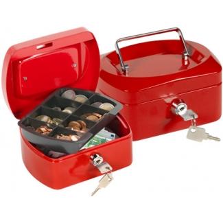 Caja caudales Q-connect 152x115x80 mm color roja con portamonedas