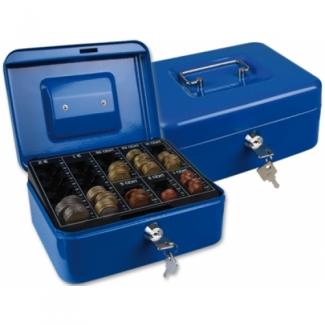 Caja caudales Q-connect 200x160x90 mm color azul con portamonedas