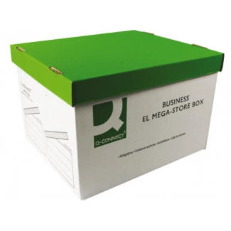 Q-Connect KF21738- Cajón contenedor para archivo definitivo de cartón, tapa fija, montaje automatico