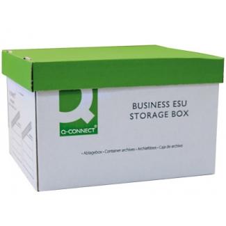 Q-Connect KF02007 - Cajón contenedor para archivo definitivo de cartón, tapa fija, montaje automatico
