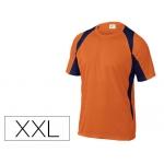 Camiseta Deltaplus poliester manga corta cuello redondo tratamiento secado rapido color naranja-marino talla
